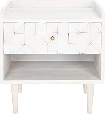 Safavieh Home Collection Zinnia White Wash and Brass 1-Drawer Nightstand