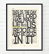 This Is the Day the Lord Has Made, Psalm 118:24, Christian Art Print, Unframed, Vintage Bible Page Verse Scripture Wall and Home Decor Poster, Inspirational Gift, 8x10 Inches