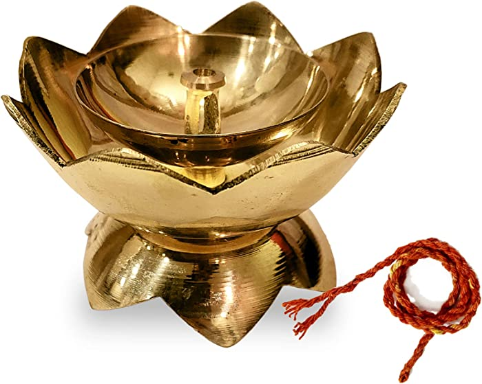 Craftsman Brass Flower Akhand Diya Kamal Shape Metal Akhand Diya Traditional Indian Festive Diwali Puja Pooja Mandir Home Temple Oil Lamp Dia with Akhand Jyot Wicks