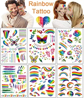 Temporary Tattoos 6 Sheets Fake Rainbow Tattoo Stickers Colorful Flag Butterfly Flower Long Lasting Temp Tattoos for Gay Pride Men Women Face Arm Body Decorations Festival Party Celebration Supplies
