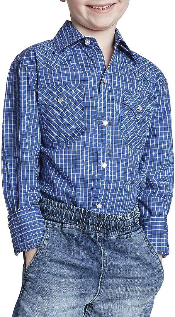 ELY CATTLEMAN Boys' Long Sleeve Mini Check Western Shirt