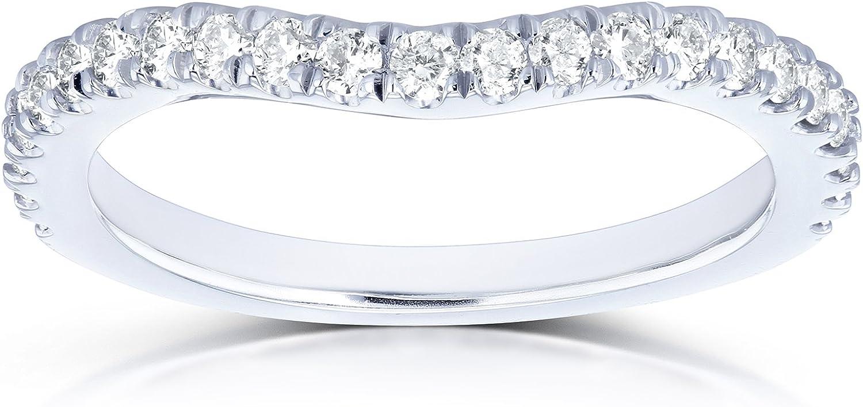 Kobelli Diamond Curved Wedding Band 1/3 CTW in 14k White Gold