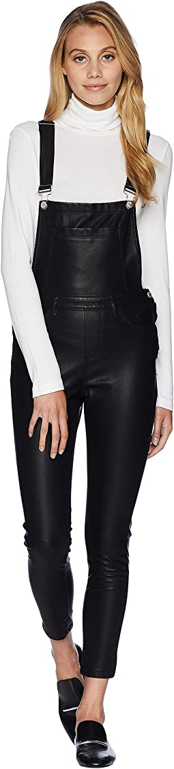 Black Vegan Leather Overalls in All Good