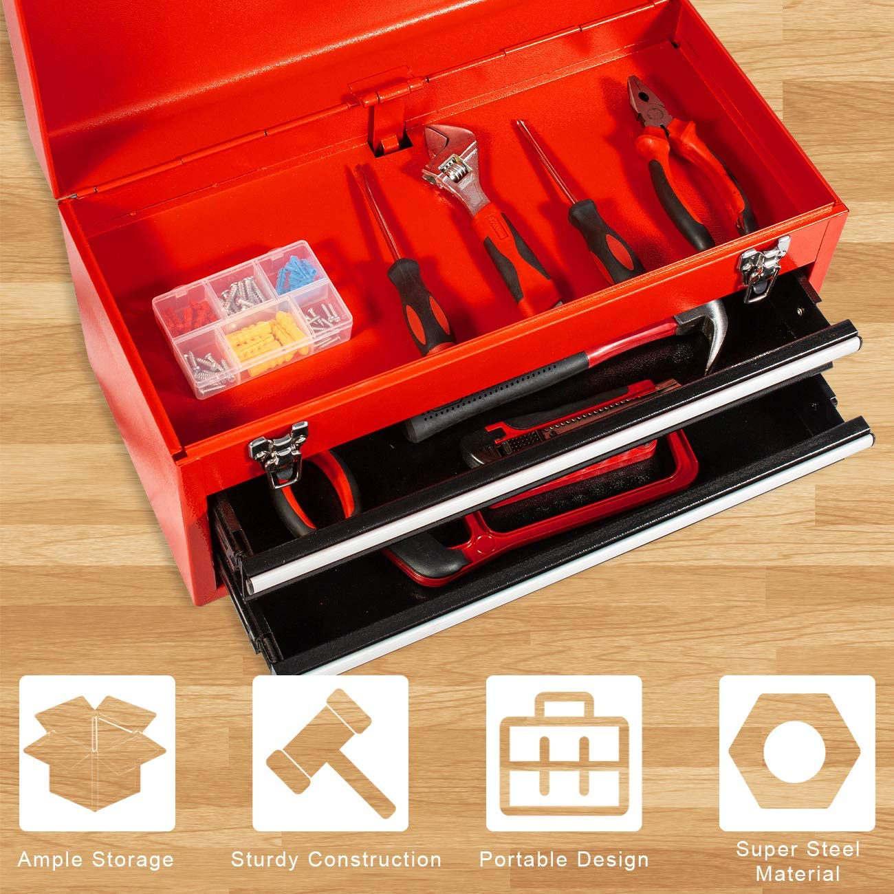 Black Eco Home Tool Box with 2-Drawer Tool Chest Metal Portable Tool Chest Steel Cabinet with Top Tray,Multifunctional Toolbox for Garage and Warehouse