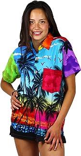 V.H.O Funky Hawaiian Blouse Women Short-Sleeve Front-Pocket Hawaiian-Print Every Blouse is a Unique Mix Beachdesigns Unisex