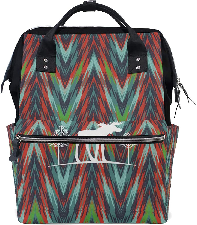 DEZIRO Canvas Elk Art Painting School Pack Backpacks Travel Bag