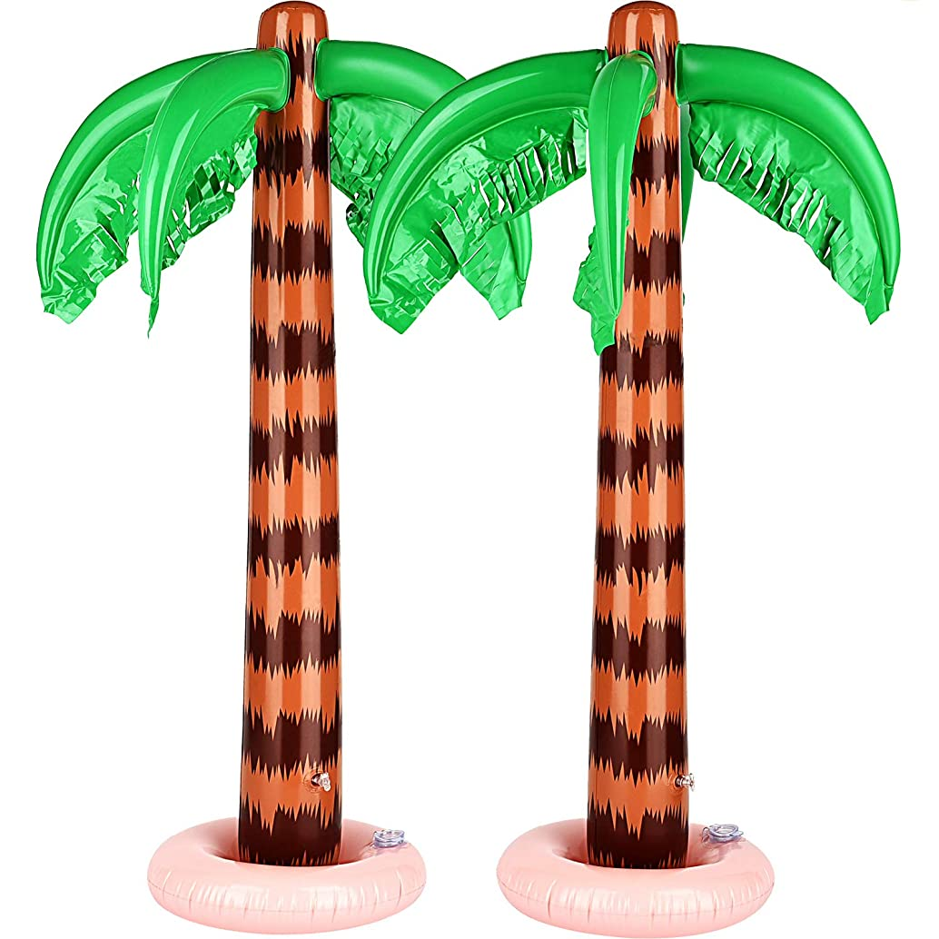 TecUnite Inflatable Palm Trees Jumbo Coconut Trees Beach Backdrop Favor for Hawaiian Luau Party Decoration Accessory (34 Inches, 2 Pack)