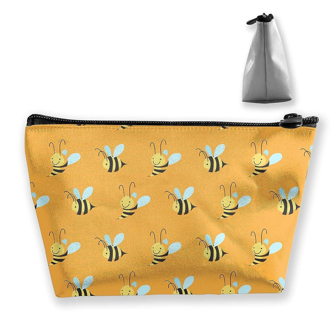 死ぬ滑りやすい段落台形 レディース 化粧ポーチ トラベルポーチ 旅行 ハンドバッグ 蜜蜂パターン コスメ メイクポーチ コイン 鍵 小物入れ 化粧品 収納ケース