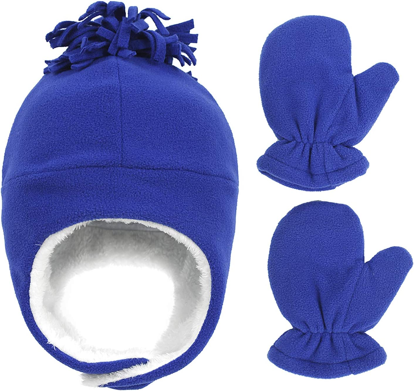 Kids Children Knitted Hat Gloves Set Winter Warm Thick Fleece Plush Lining Ski Cap Adjustable Outdoor Sport Windproof Ushanka Beanie Hat Pilot Hat with Mitten Gloves for Boys Girls