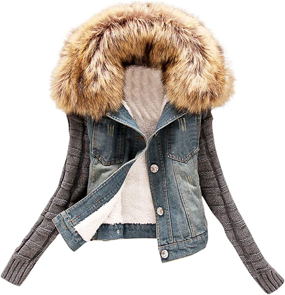 UpdateClassic Women's Fleece Lined Denim Jacket with Knitted Sleeves Faux Fur Hooded Coat