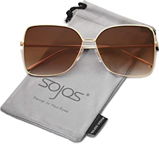 5a64fbd7f26e7 SOJOS Fashion Oversized Square Sunglasses for Women Flat Mirrored Lens  SJ1082