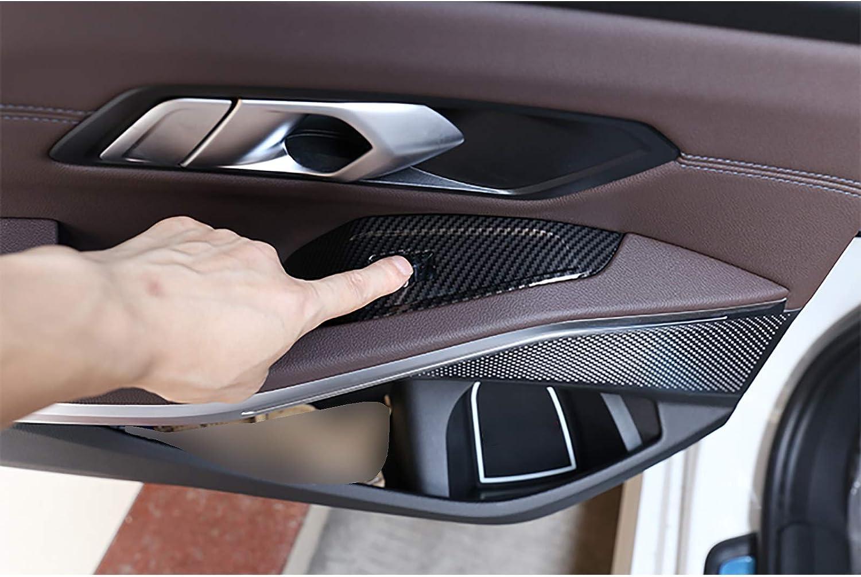 F/ür BMW 3er G20 2019 2020 Innent/ür Armlehne Fensterheber Knopfverkleidung Verkleidung ABS Carbon Look//Silber Chrom 4 Stk