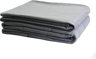 Sweet Collection Weighted Blanket (Twin Size 48''x72'' 15lbs for Adults,100% Natural Cotton with Glass Beads,Grey Blanket with Grey Duvet Cover)