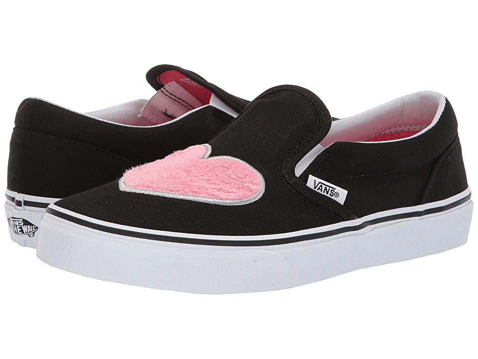 Vans Kids Classic Slip-On (Little Kid/Big Kid) ((Fur Heart) Strawberry Pink/Black) Girls Shoes