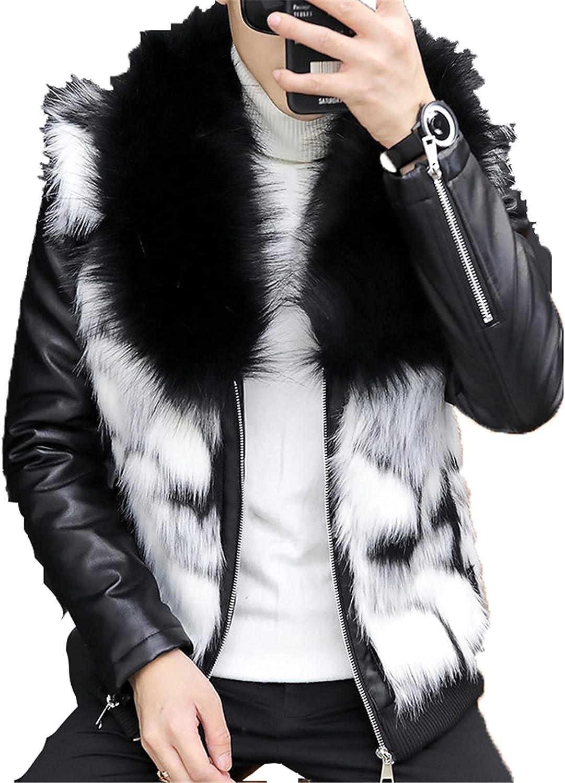 Men's Faux Fur Coat Leather Jacket Slim Fit Vintage PU Motorcycle Parka Outwear Coat Punk Biker Jacket