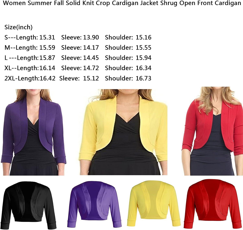 Womens Cardigan Coat Long Sleeve Open Front Cardigan Bolero Cropped Bolero Cardigan Shrugs Sweater
