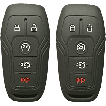 qualitykeylessplus Bundle Pair of 2 Replacement Remote Cases Button Pads and Uncut Blades for Ford remotes with FCC ID M3N-A2C31243300 2