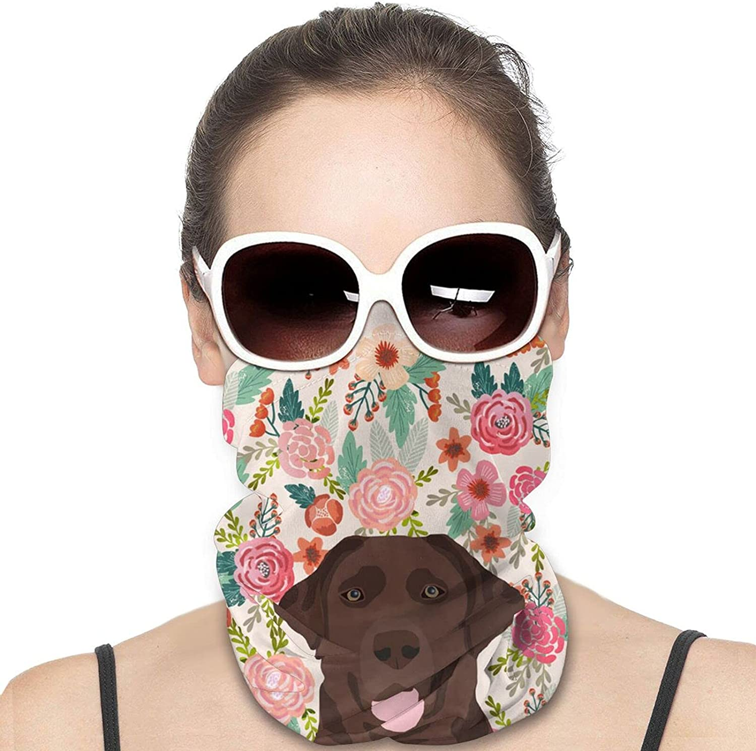 Lab Dog Floral Cute Dog Round Neck Gaiter Bandnas Face Cover Uv Protection Prevent bask in Ice Scarf Headbands Perfect for Motorcycle Cycling Running Festival Raves Outdoors