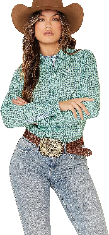 Cinch Women's Green Tile Print Button Front Long Sleeve Western Shirt
