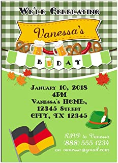 Green Oktoberfest Birthday Party Invitations