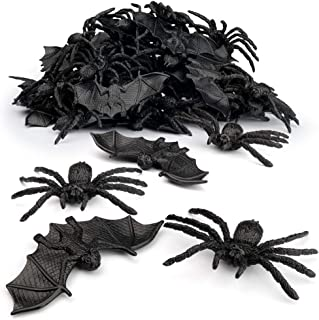 Coogam 48PCS Halloween Spiders Bats Party Favor Decorations Set of 24 Realistic Spiders and 24 Plastic Bats, Small Size Hallowmas Prank Props Supplies Kid Gift Joke Toy Home Decor
