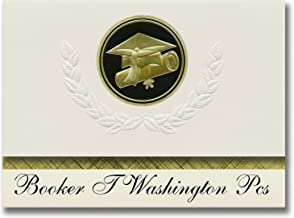 Signature Announcements Booker T Washington Pcs (Washington, DC) Graduation Announcements, Presidential style, Elite package of 25 Cap & Diploma Seal. Black & Gold.