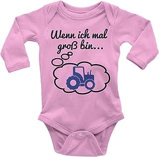 Mikalino Babybody mit Spruch für Jungen Mädchen Unisex Langarm Wenn ich mal groß Bin. Traktor | handbedruckt in Deutschland | Handmade with Love