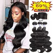 Sayas Hair 3 Bundles Brazilian Hair Body Wave With Closure 4x4 inch Free Part Natural Color 100g(3.5oz)/bundle With 25g(0.9oz) Closure Total 325g(11.4oz) (12 14 16+12) Inch