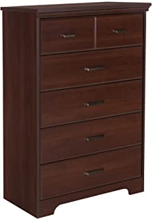 South Shore Versa Collection 5-Drawer Dresser, Royal Cherry with Antique Handles