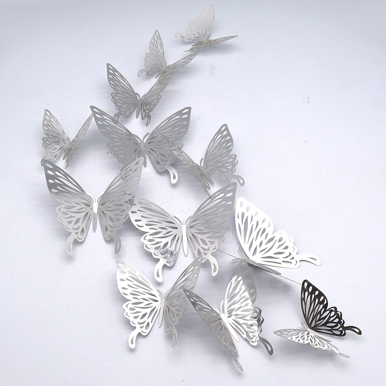 Mariposas Decorativas 3D, CAYUDEN 24 pcs Extraíbles 3 Tamaños Espejos Decorativos de Pared Decoraciones Paredes Pegatinas pared Decorativas 3D para Fiesta Boda Dormitorio Jardin Niños Decoración