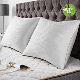 BedStory [Bambou Fibre Oreillers Bambou 60x60 Lot de 2 avec Taies Antiacariens Amovibles, Oreillers Anti-Allergies avec Ga...