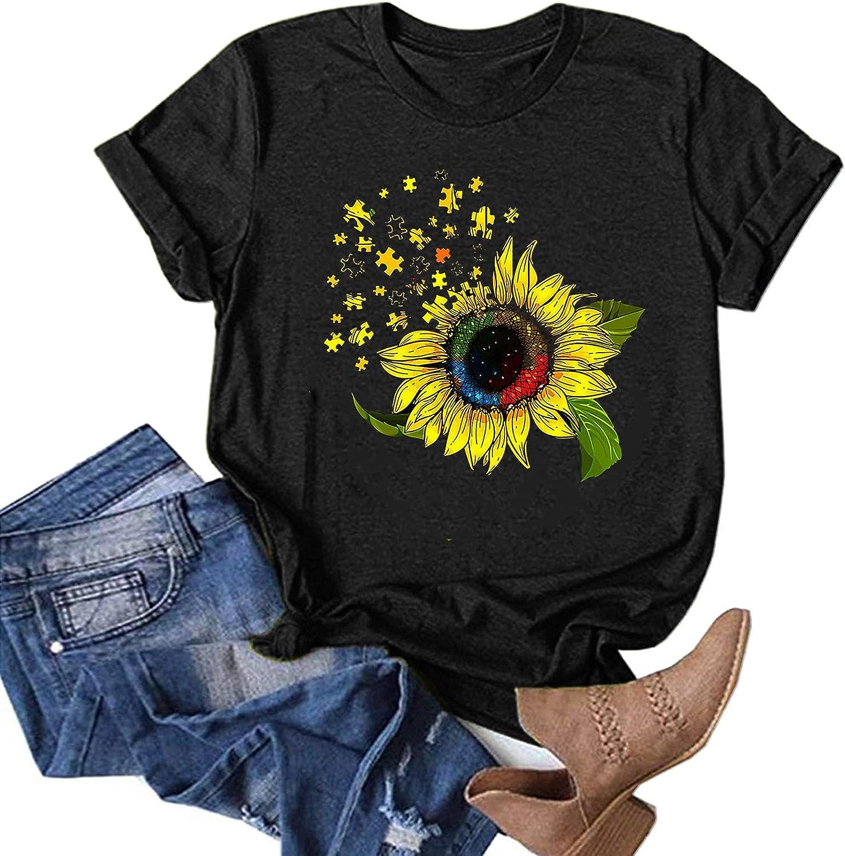 Eduavar Women T-Shirt Women Cute Letter Print Funny Graphic Tees Short Sleeve Inspirational Shirts Top