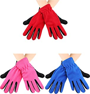 3 Pairs Winter Ski Glove Stretchy Fleece Work Glove Warm Thermal Fleece Glove for Boys Girls, 10 - 16 Years (Color Set 2)