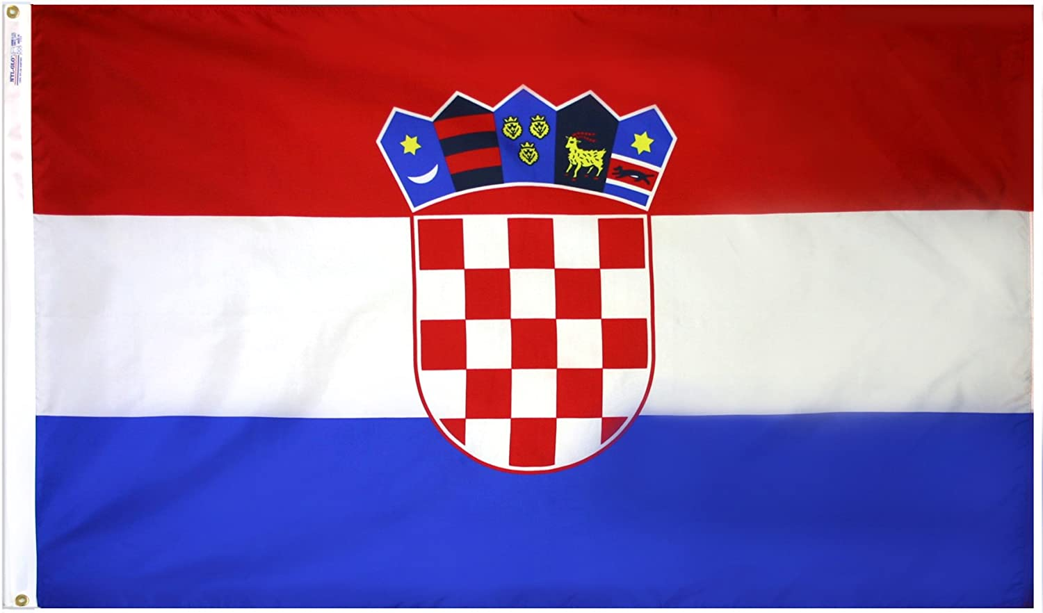 Croatia Flag 3x5 ft. Nylon SolarGuard NylGlo 100% Made in USA to Official United Nations Design Specifications by Annin Flagmakers. Model 191836
