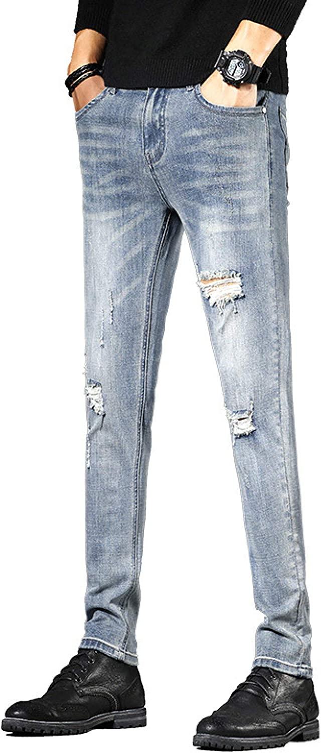 Men's Vintage Style Distressed 67% OFF of fixed price Jeans Ripped Denver Mall Holes Stretch Skinny