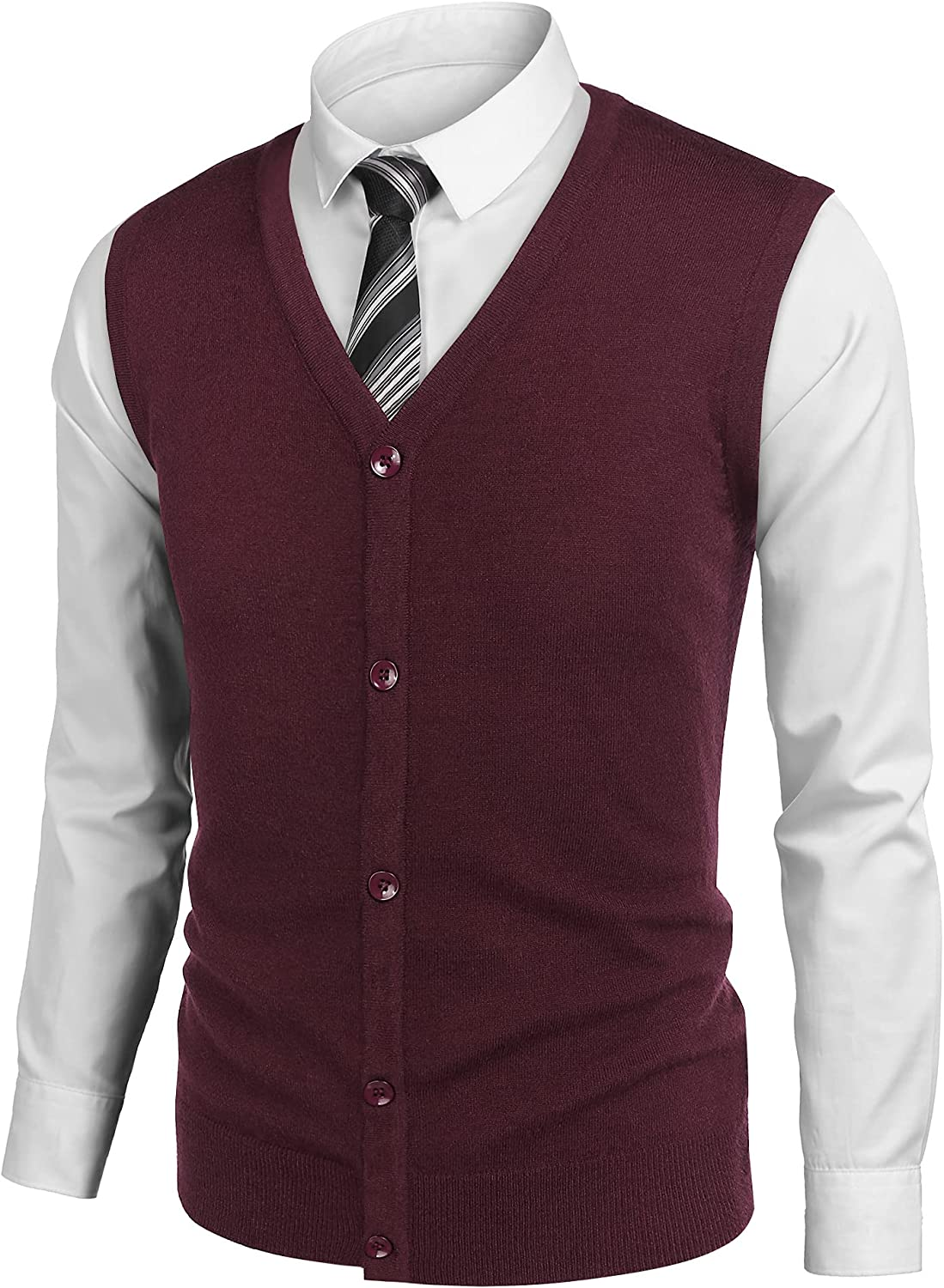 COOFANDY Men's Sweater Vest V Neck Casual Sleeveless Knitted Button Cardigan Vest