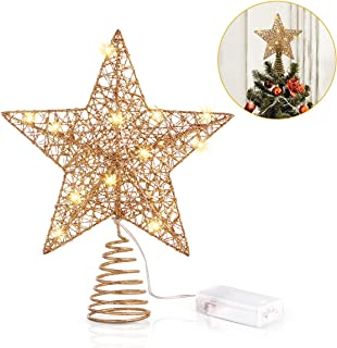 Unomor Christmas Star Tree Toppers, Gold Glittered Metal Hallow Design with 15 LED Lights (Batteries not Included)