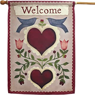 LAYOER Home Garden Flag 28 x 40 Inch Decorative House Double Sided Banner (Doves& Heart Love Welcome)