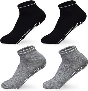 HYCLES, Calcetines ABS para niñas y niños 35 – 38 – antideslizantes pilates, multicolor, cortos de yoga, para mujer, negro, gris, negro y gris