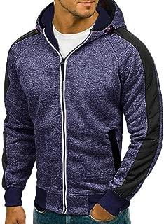 2018 Wintialy Men's Autumn Patchwork Zipper Hooded Sweatshirt Outwear Tops Blouse
