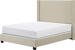 Crosley Furniture Casey Upholstered Platform Bed and Wingback Headboard, King, Crème Linen