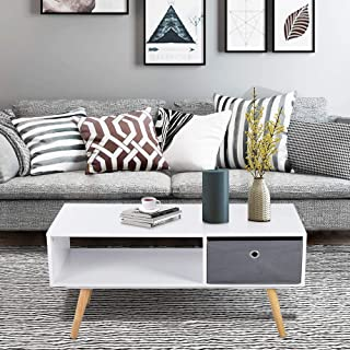 Aingoo Modern Coffee Table Mid Century 36IN with Drawer Display Rack Wooden Leg Particle Board