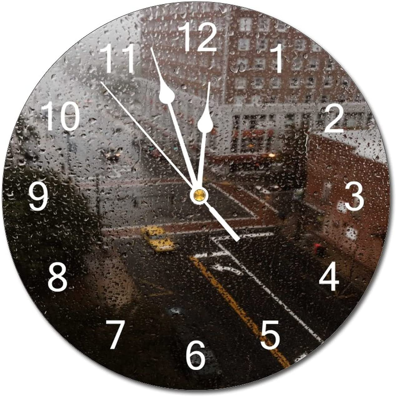 Anyuwerw Water Drops On Glass Long Beach Mall Wood 12 Clock Sile Round Wall Inch Max 46% OFF