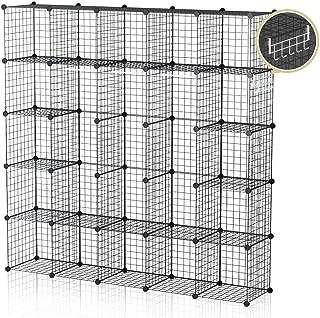 GEORGE&DANIS Wire Storage Cubes Metal Shelf Modular Organizer Rack Portable Closet Wardrobe Cubbies, Black, 14 inches Depth, 5x5 Tiers