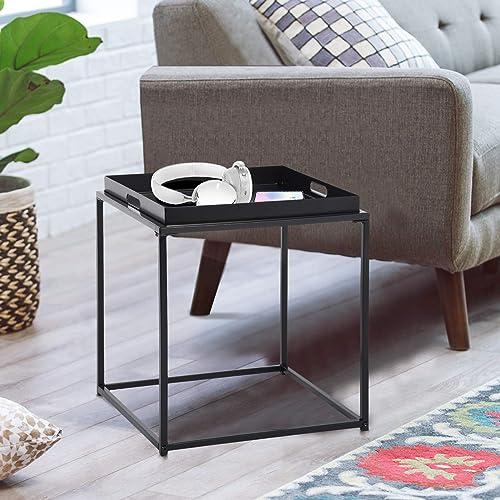 FurnitureR Mesa auxiliar cuadrada pequeña, mesa auxiliar de metal completa, impermeable, mesa de centro pequeña, sofá...