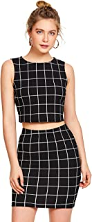 black and white crop top and skirt