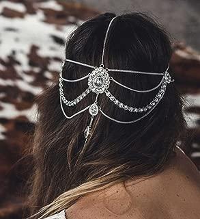 FXmimior Head Chain Bridal Women Vintage Bohemian Crystal Halloween Headpiece Wedding Hair Jewelry (silver)