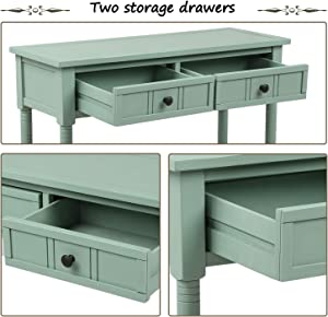 P PURLOVE Console Table Sideboard Wooden Sofa Table with 2 Drawers and Bottom Shelf for Bedroom (Retro Blue)