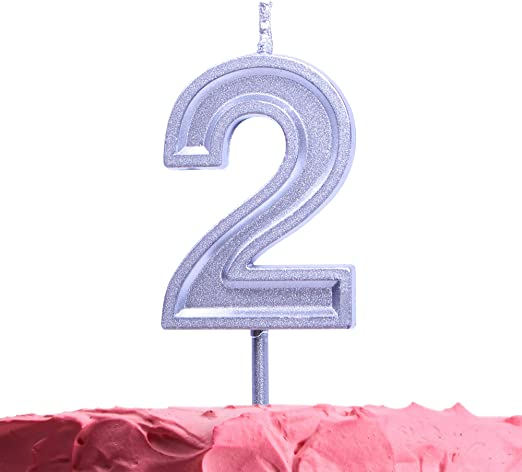GET FRESH Number 2 Birthday Candle – Silver Number Two Candle on Stick – Elegant Silver Number Candles for Birthday Wedding Anniversary – Baby's 2nd Birthday Candle Cake Topper – Silver 2 Candle