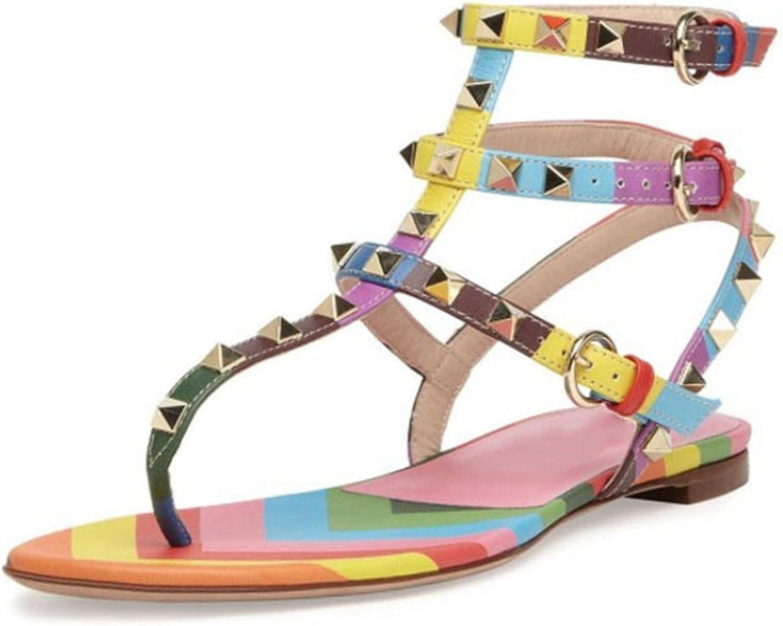 TDA Woherrar MA524 Studded Flip Flip Flip Flop Buckle läder Ankle Booslips Sandals Flats  billig